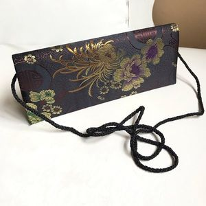 FABRIC FLOWER EMBOSSED EVENING BAG BLACK CLUTCH